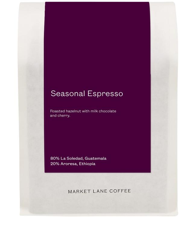 This coffee tastes like roasted hazelnut with milk chocolate and cherry. 80% of this Seasonal Blend is made up of La Soledad from Guatemala. The farm is owned and run by Ana Lucia Zelaya and her husband Rony Asensio, both of whom come from longstanding coffee-producing families. During the harvest, the ripest cherries are picked and meticulously processed using the washed method, before being dried on patios and later in covered greenhouses. La Soledad adds body and notes of roasted hazelnut to the blend. 20% of this espresso comes from the Aroresa washing station in Ethiopia's Sidama zone. The station is privately owned by Wochesa Achiso, who buys coffee from around 700 local producers, most of whom farm organically on small plots of land (2–5 hectares in size). During harvest, producers hand-pick their ripe cherries and deliver them to the station, where they are carefully wash-processed, and then dried on raised beds – first under cover and then in the sun. Aroresa contributes chocolate notes to the espresso, as well as a lovely fruity finish. Together, these two coffees blend beautifully to create an espresso that tastes like roasted hazelnut, milk chocolate and cherry.